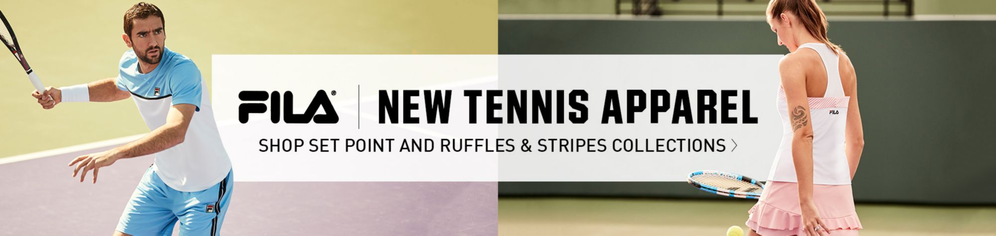 Shop New Fila Tennis Apparel Ruffles and Stripes Collections (Women's) & Set Point (Men's) Collections