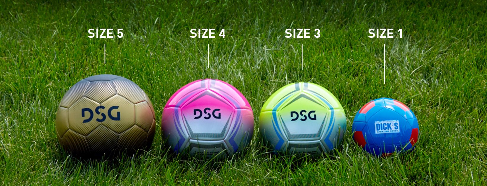 Soccer balls with size labels in grass