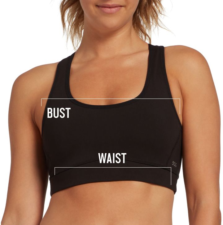Womens Bra Size Chart Graphic Depicting Bust and Waist